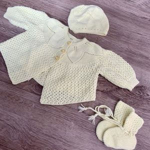 Other - 🎀2/$20 Vintage Handmade 3 Piece Set Baby Yellow